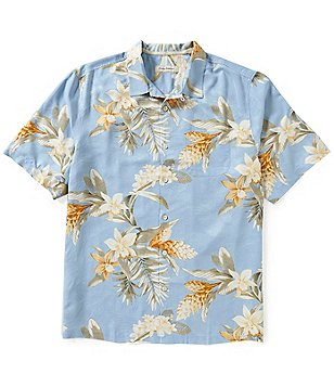 Tommy Bahama Big & Tall Guava Garden Print Short-Sleeve Silk Shirt