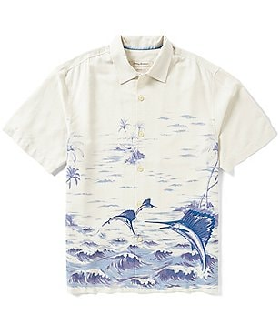 Tommy Bahama Big & Tall Santiago Sailfish Printed Silk Shirt