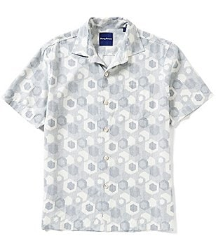Tommy Bahama Big & Tall Tiles Davis Printed Silk Shirt
