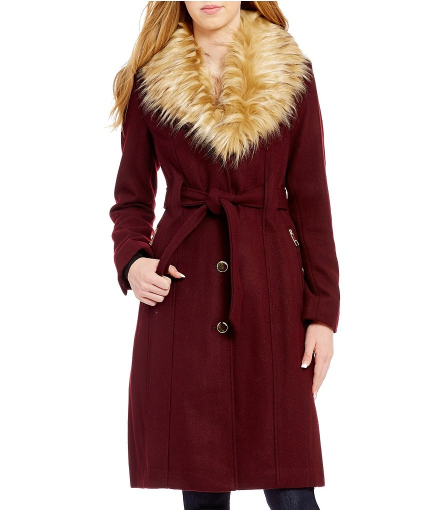 Guess Shawl Faux-Fur Collar Belted Solid Textured Wool Trench Coat
