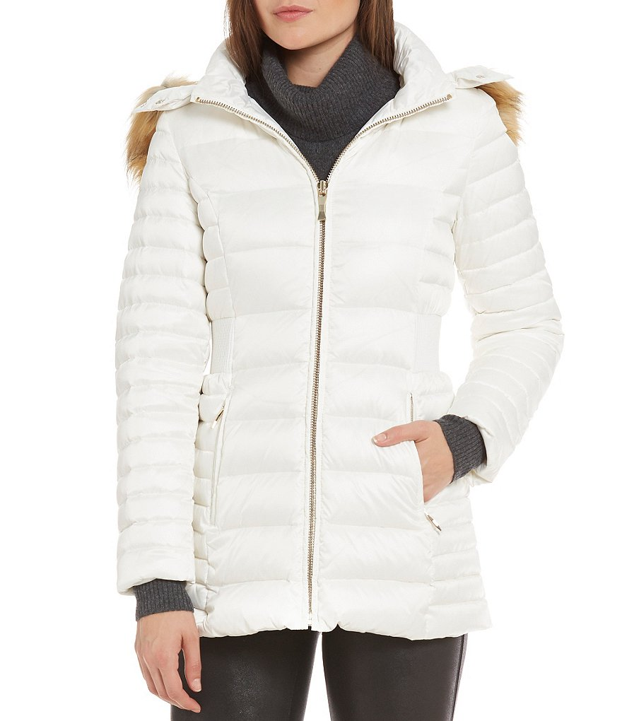 kate spade new york Soft Down Faux Fur Detachable-Hood Coat
