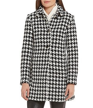 kate spade new york A-Line Houndstooth Wool Coat