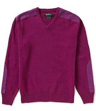 Beretta Classic V-Neck Long Sleeve Elbow-Patch Solid Sweater