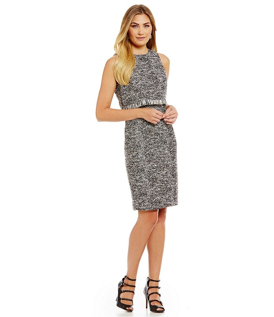 KARL LAGERFELD PARIS Tweed Popover Sleeveless Dress