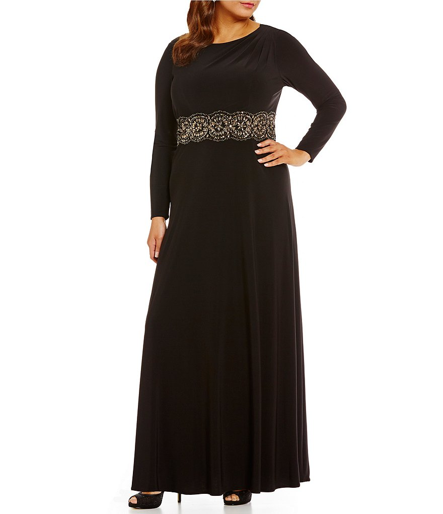 Alex Evenings Plus Beaded Long Sleeve Cowl Back Dress