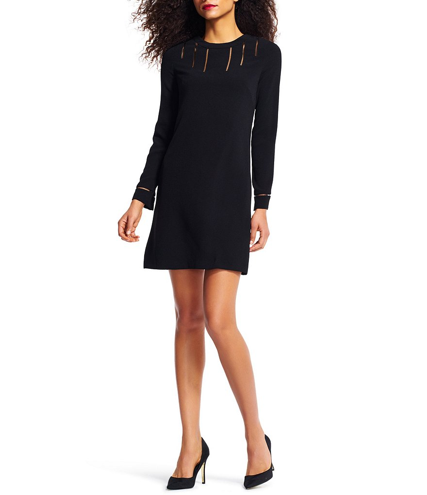 Adrianna Papell Slit Detail Long Sleeve Crepe Trapeze Dress