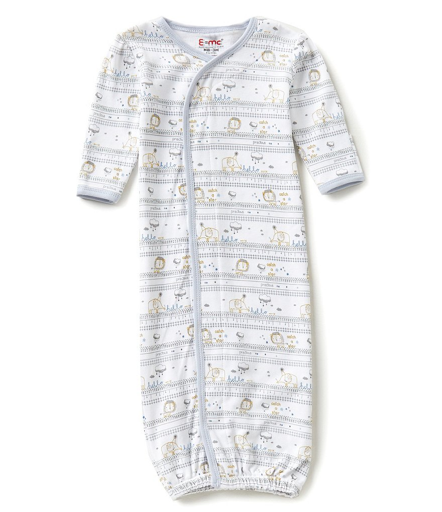 E=MC2 Baby Boys Newborn Hello World Printed Magnetic-Closure Gown