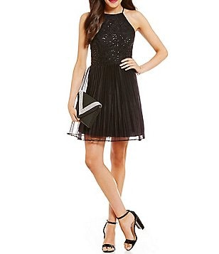 Xtraordinary Sequin Embellished Lace Bodice Fit-and-Flare Party Dress