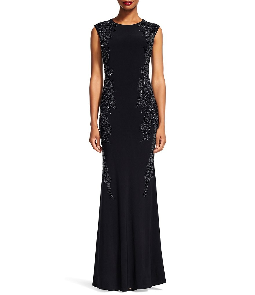 Adrianna Papell Side Sequin Jersey Cap Sleeve Gown
