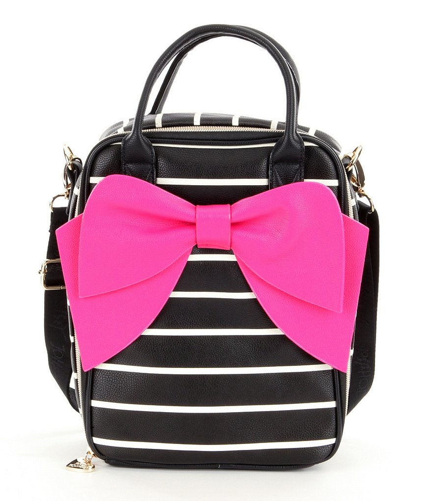 Betsey Johnson Striped Bow Lunch Tote