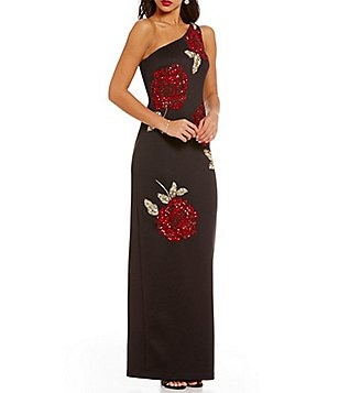 Adrianna Papell Scuba Beaded Floral Rose One Shoulder Gown