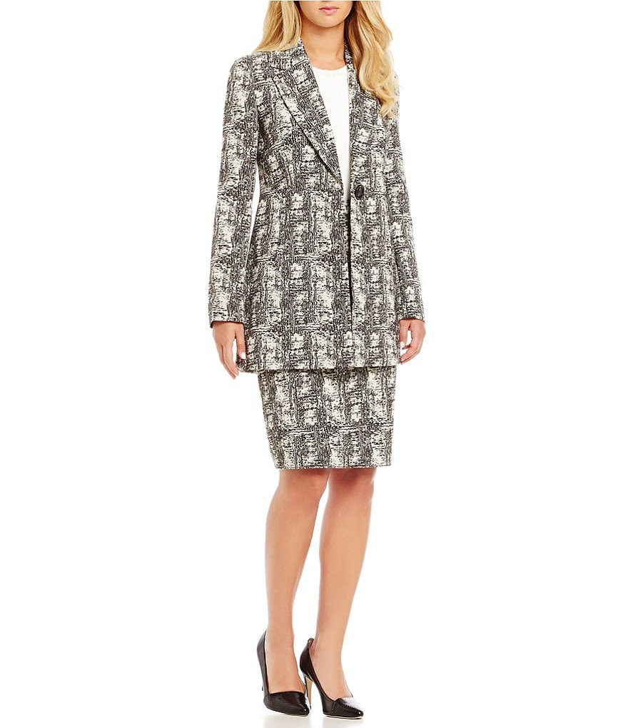 Kasper Petite Jacquard Patterned Jacket & Pencil Skirt