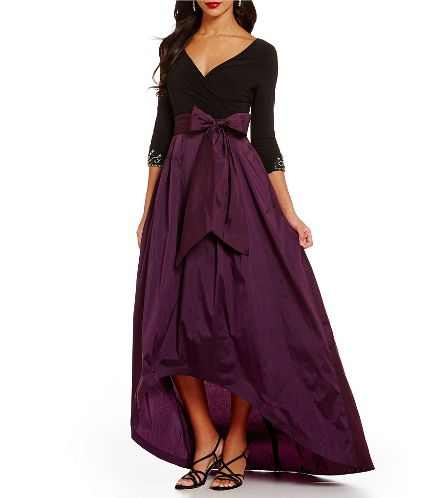Adrianna Papell Hi-Low V-Neck Faux-Wrap Taffeta Ball Gown
