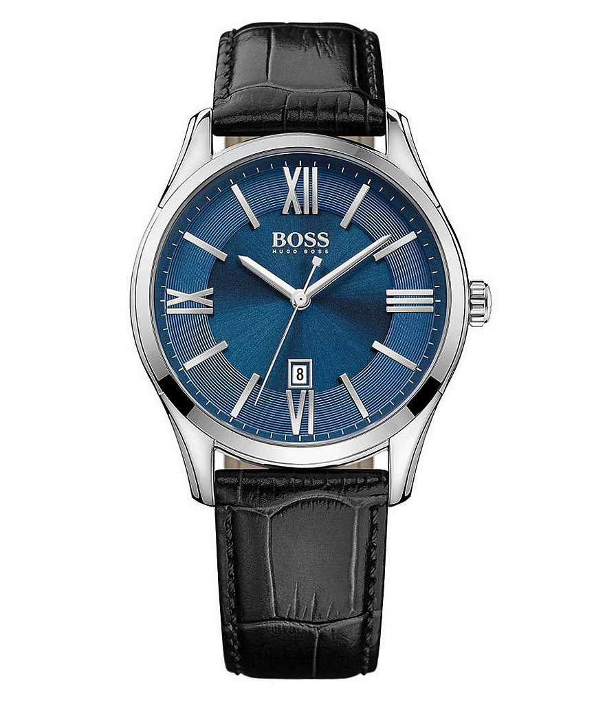 BOSS Ambassador Analog & Date Crocodile Leather-Strap Watch