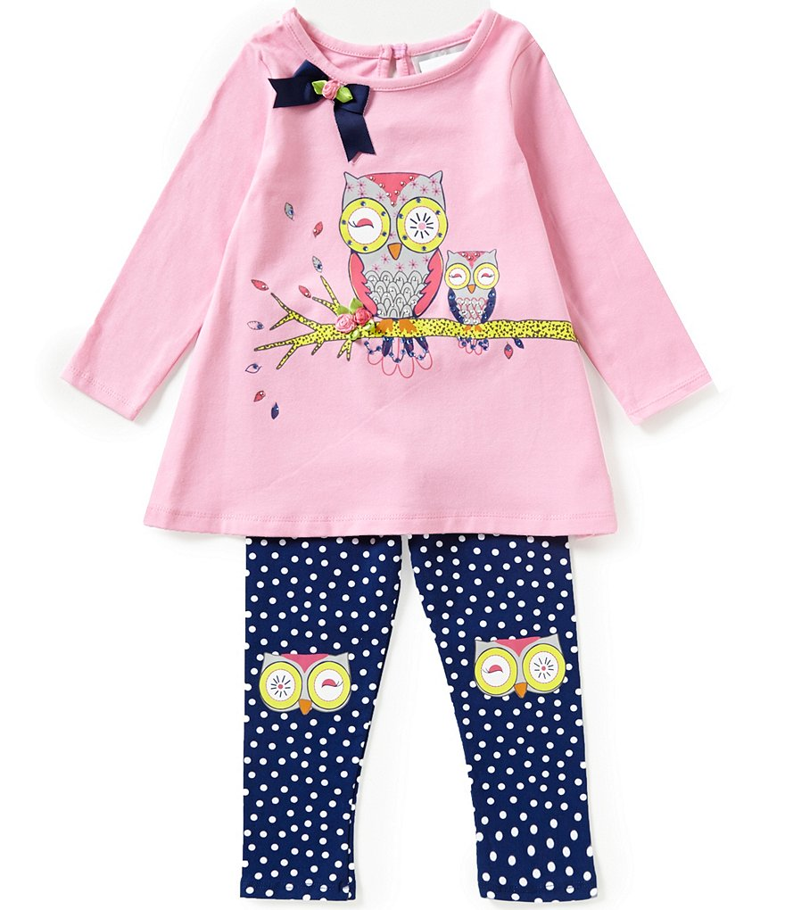 Rare Editions Little Girls 2T-6X Owl-Bow Top & Leggings Set
