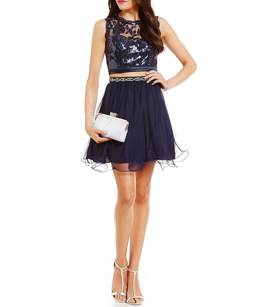 Sequin Hearts Sequin Pattern Top Two-Piece Dress