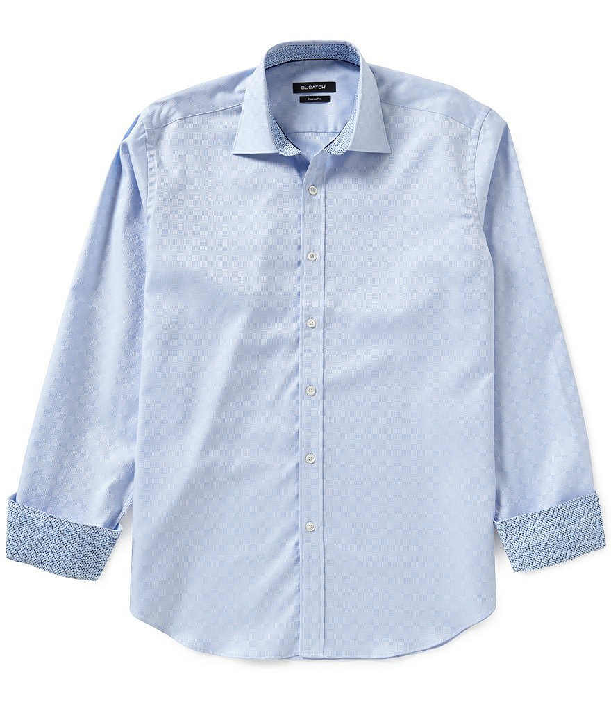 Bugatchi Long-Sleeve Square Pattern Jacquard Woven Shirt