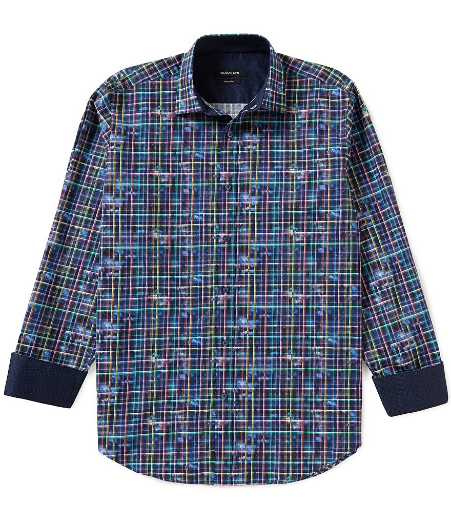 Bugatchi Long-Sleeve Blurred Plaid Woven Shirt