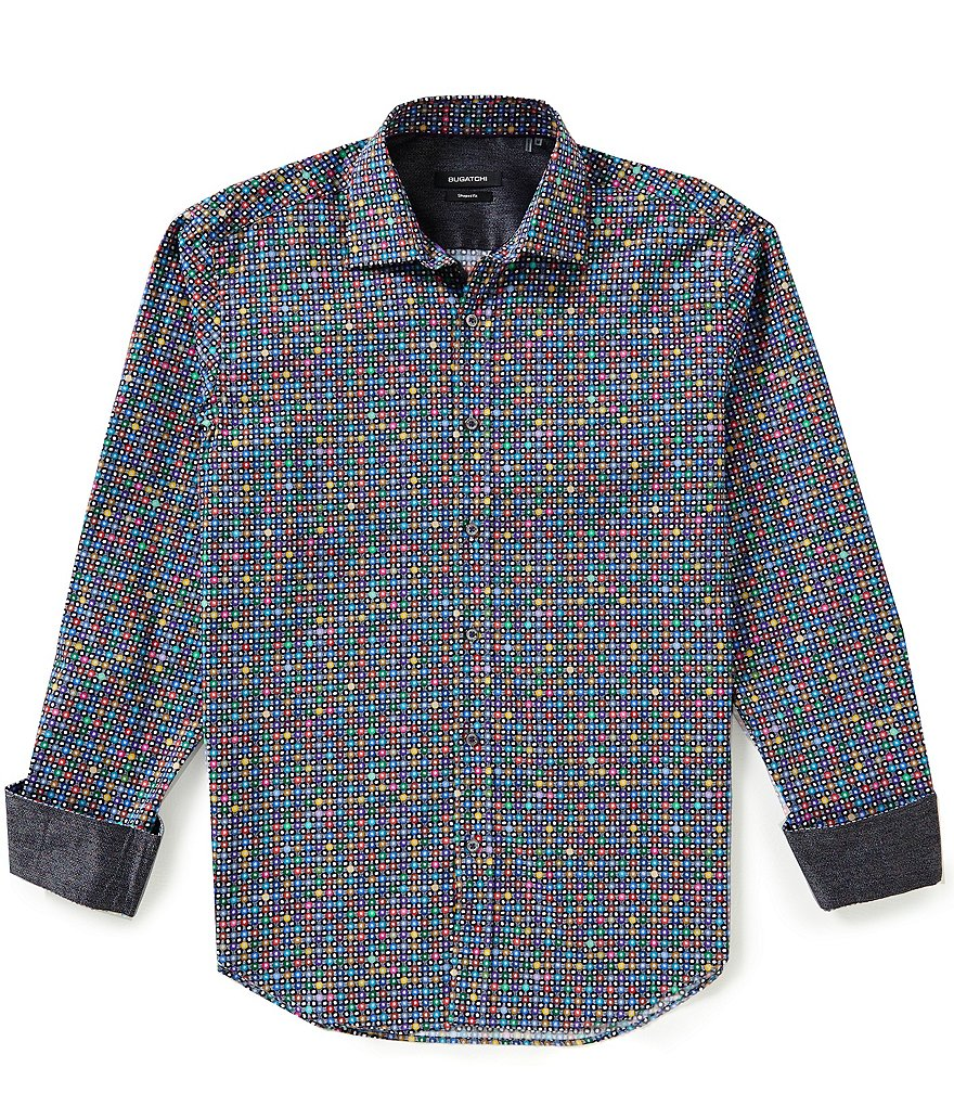 Bugatchi Long-Sleeve Repeating Circle Print Woven Shirt