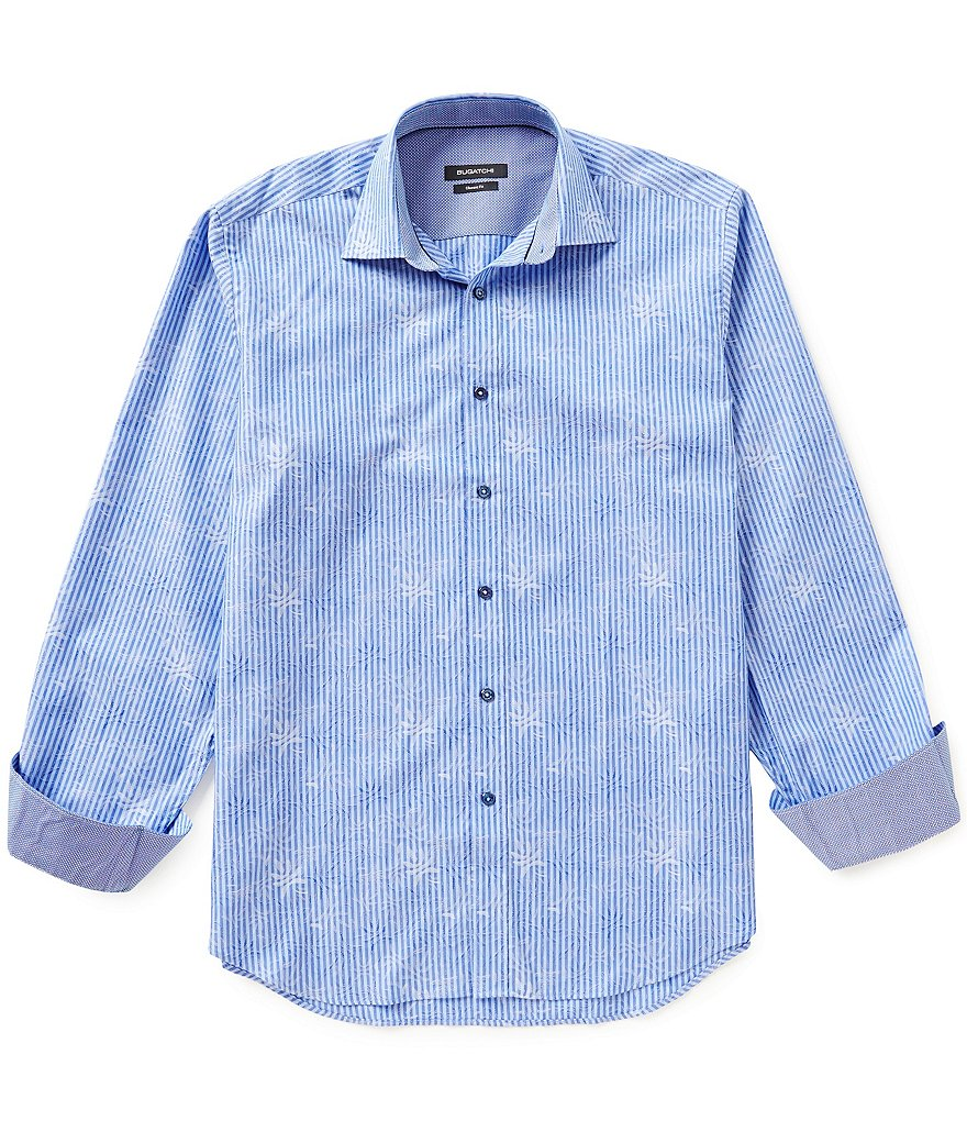 Bugatchi Long-Sleeve Jacquard Pattern Stripe Woven Shirt