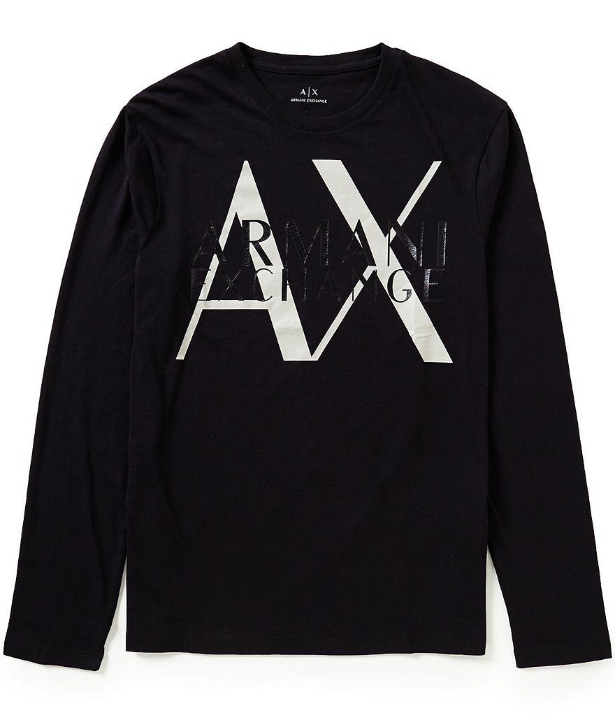 Armani Exchange Large Logo Long-Sleeve Graphic Tee