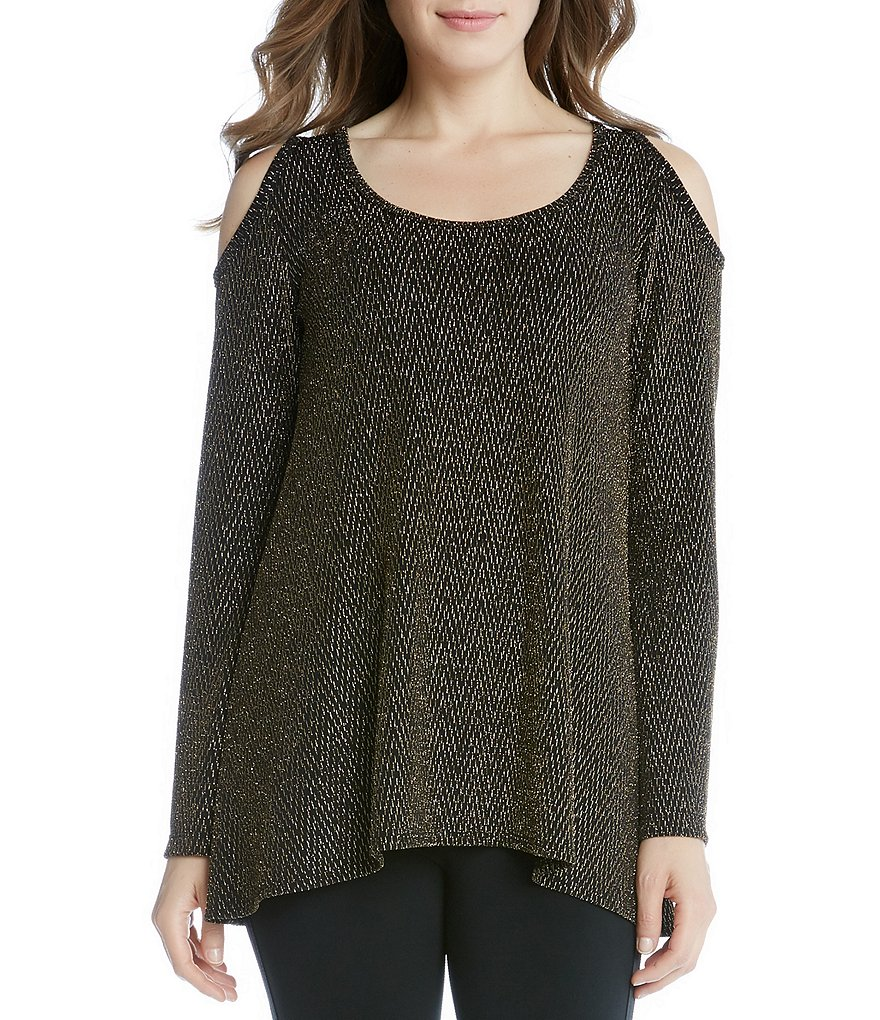 Karen Kane Crew Neck Cold Shoulder Sparkle Knit Top