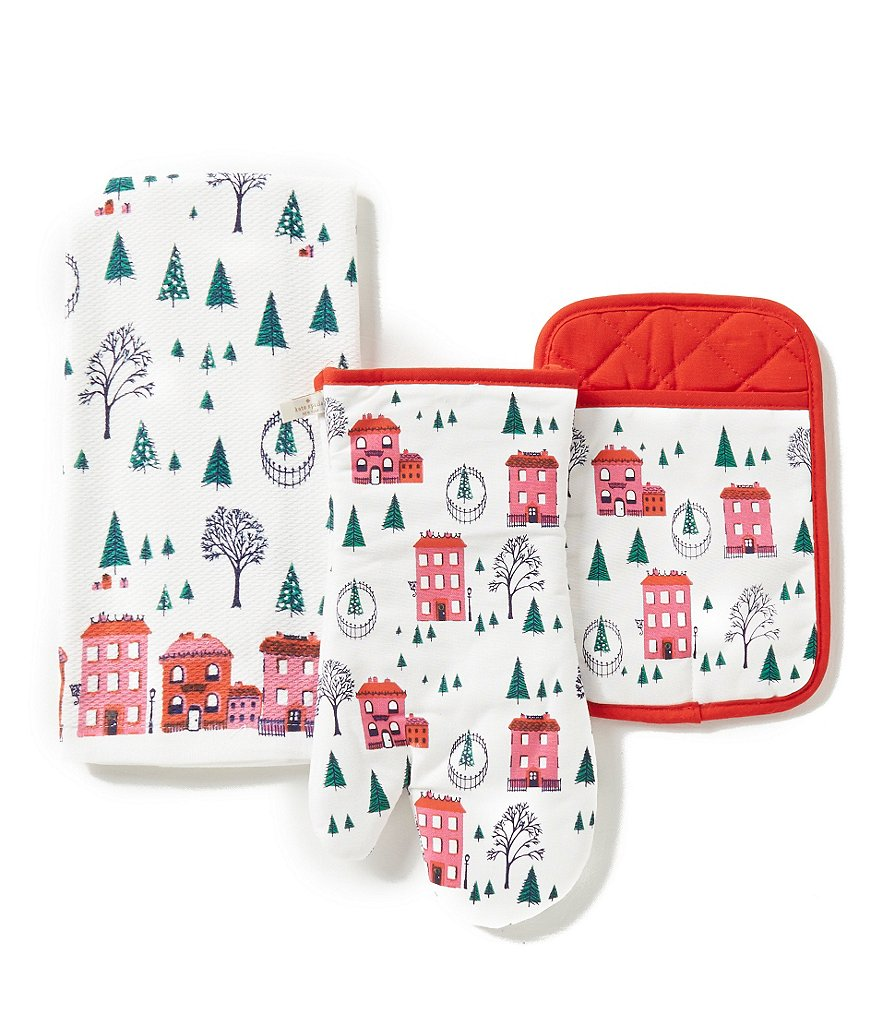 kate spade new york Holiday Village 3-Piece Kitchen Linen Set