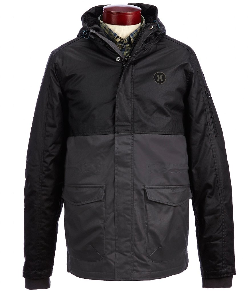 Hurley Westside Tonal Color Block Hooded Twill Parka Jacket