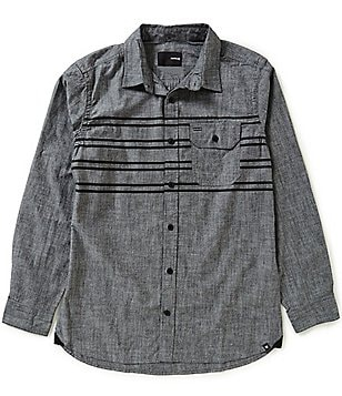 Hurley Chest-Stripe Long-Sleeve Woven Shirt