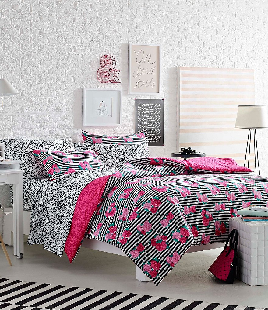 Luv Betsey by Betsey Johnson Royal Roses Striped Floral Comforter Mini Set