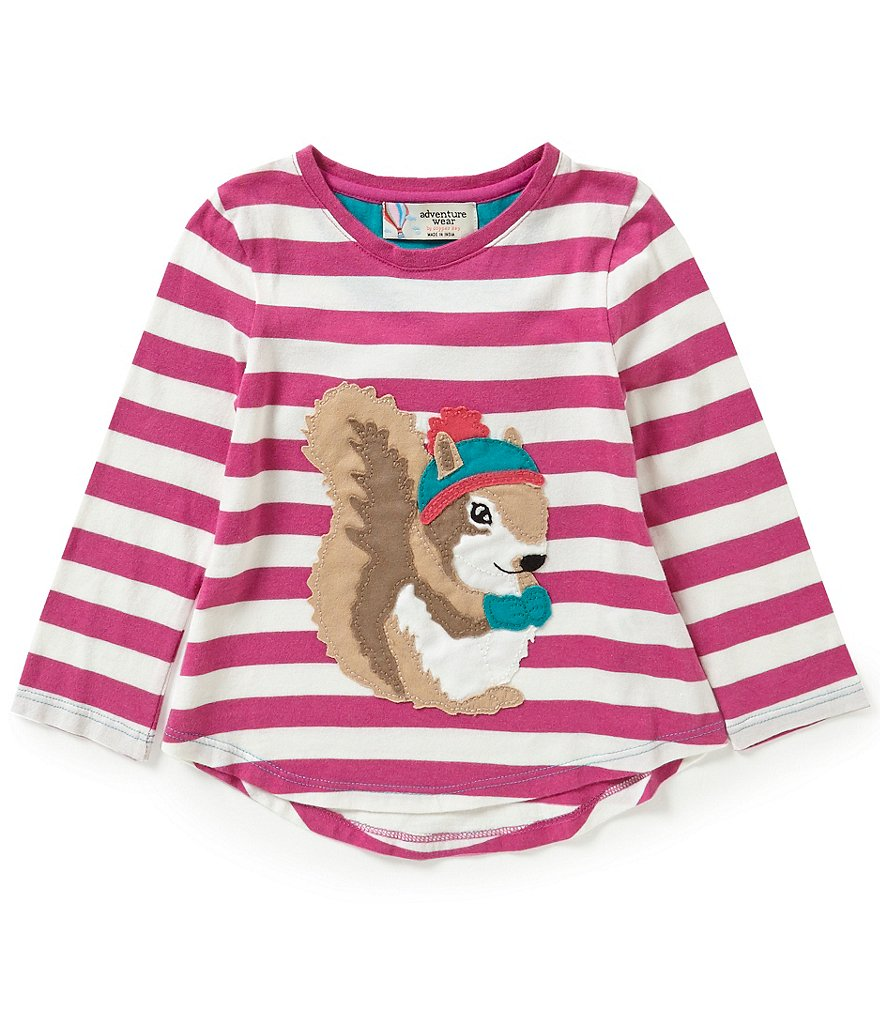 Adventure Wear by Copper Key Little Girls 2T-4T Striped Squirrel Top