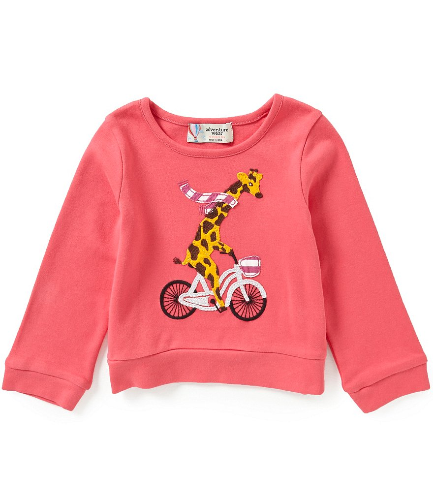 Adventure Wear by Copper Key Little Girls 2T-4T Long Sleeve Giraffe Applique Top