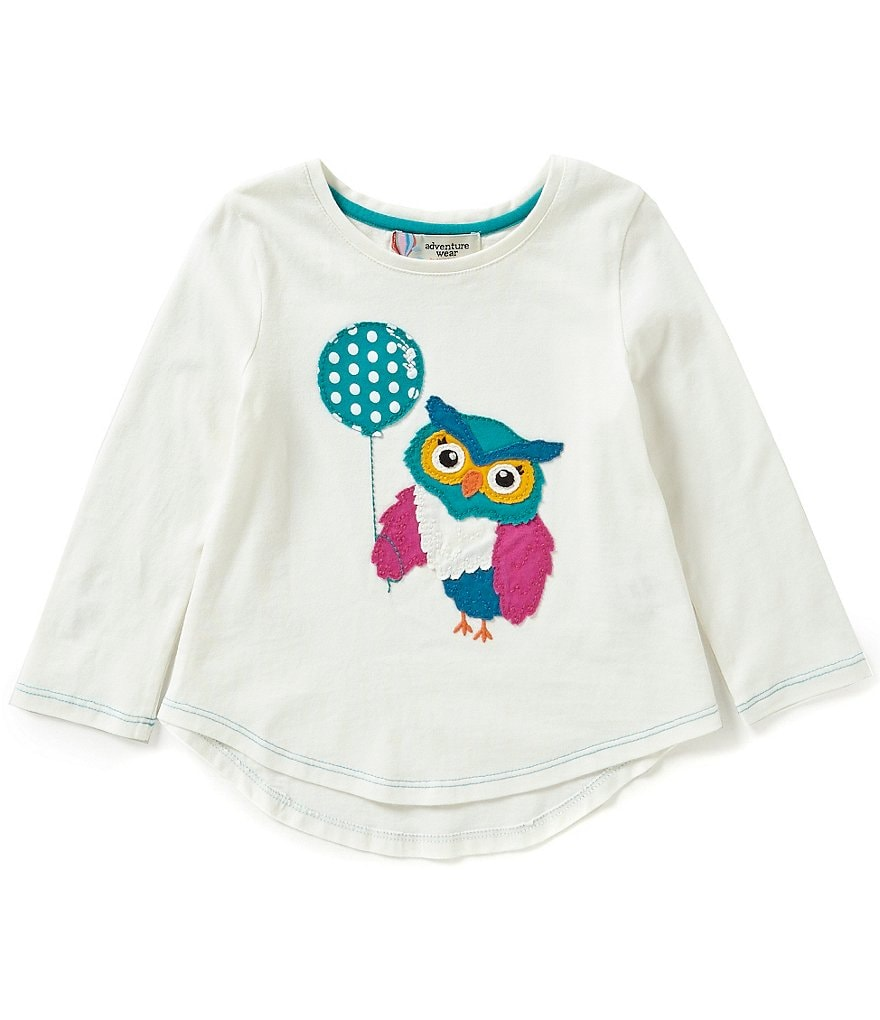 Adventure Wear by Copper Key Little Girls 2T-4T Owl Long Sleeve Top