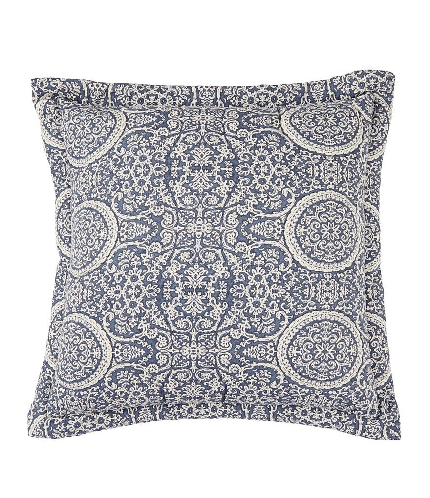 Southern Living Donato Quilted Medallion Cotton & Linen Square Pillow