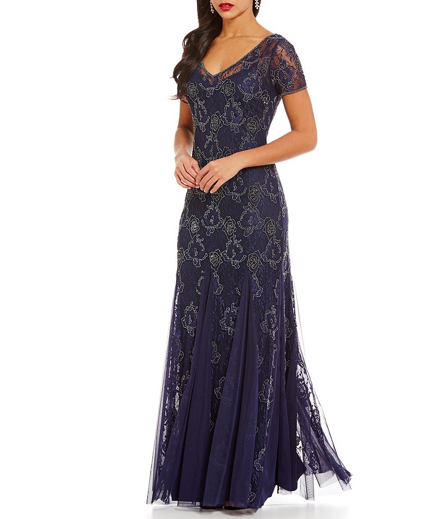 Adrianna Papell Beaded V-Neck Lace Short Sleeve Gown