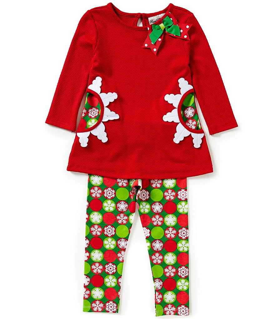 Rare Editions Little Girls 2T-6X Holiday Snowflake Top and Printed Leggings Set