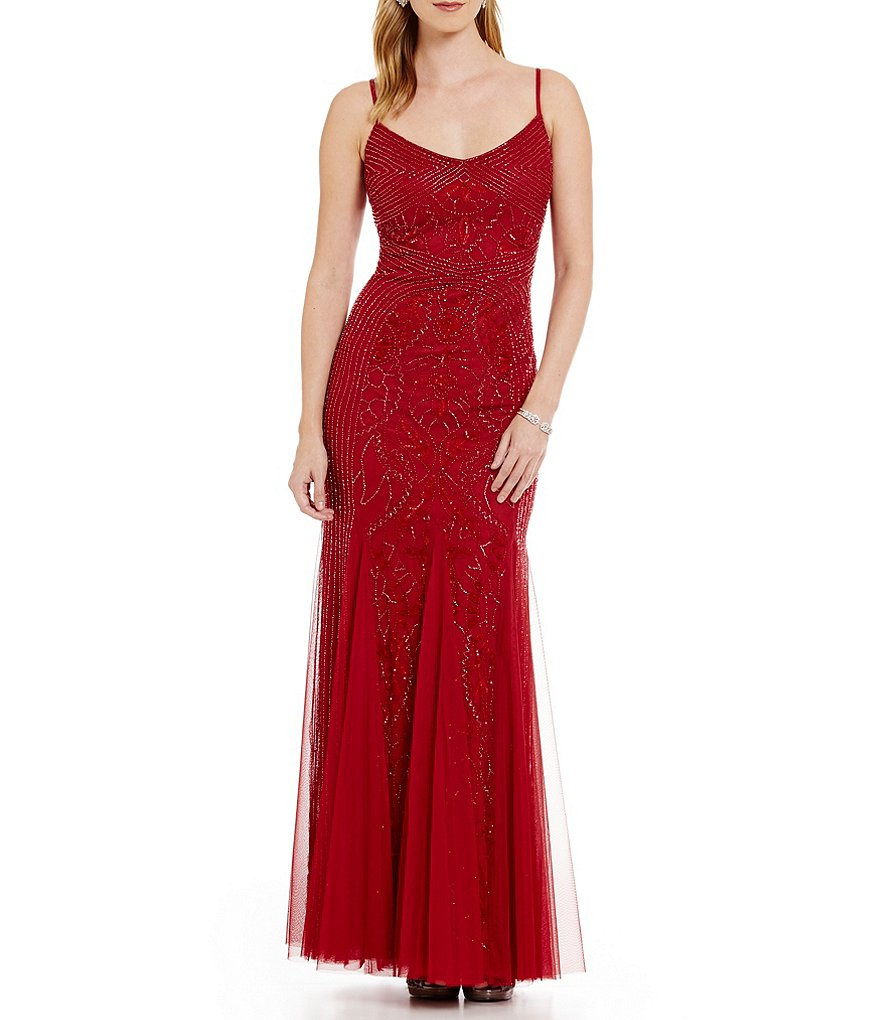 Adrianna Papell Beaded Spaghetti Strap Slip Gown