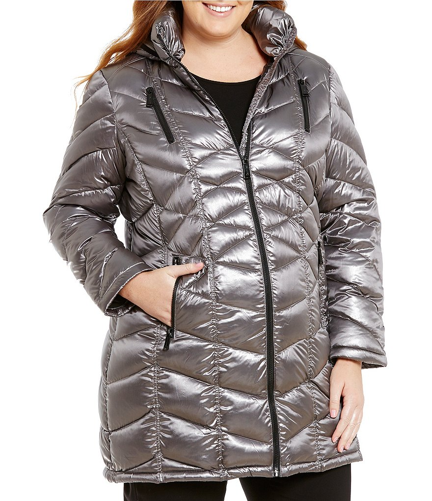 Calvin Klein Plus 3/4 Light Weight Packable Down Puffer Coat