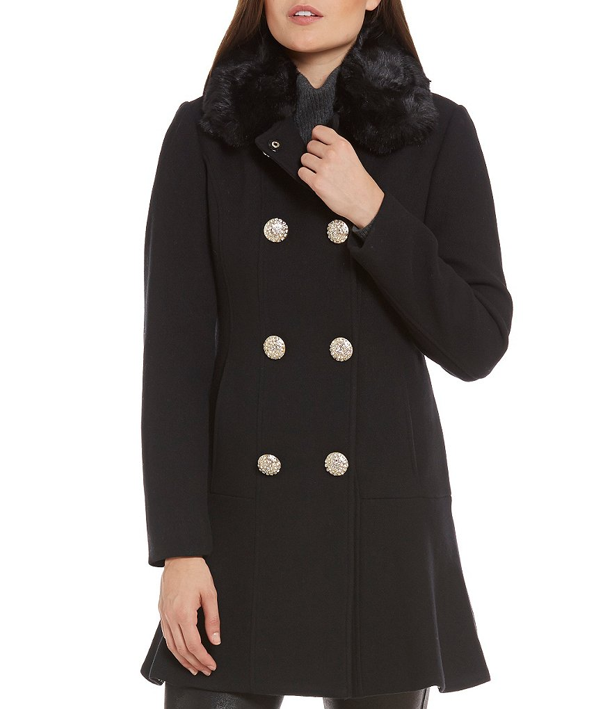 kate spade new york Double Breasted Fit-and-Flare Faux-Fur Collar Wool Coat