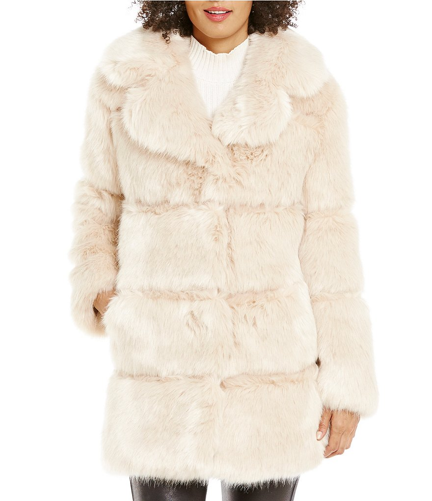 kate spade new york Faux-Fur Notch Collar Back-Bow Coat