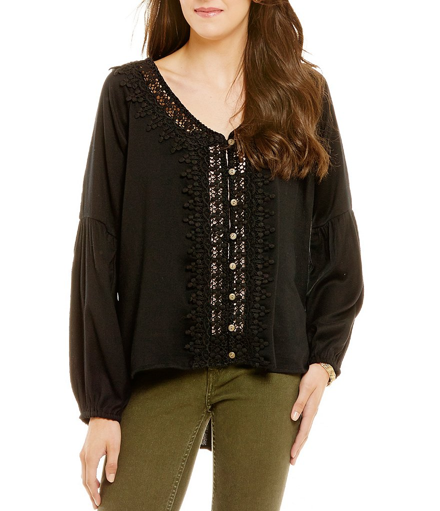 O´Neill Dylan Crochet Peasant Blouse