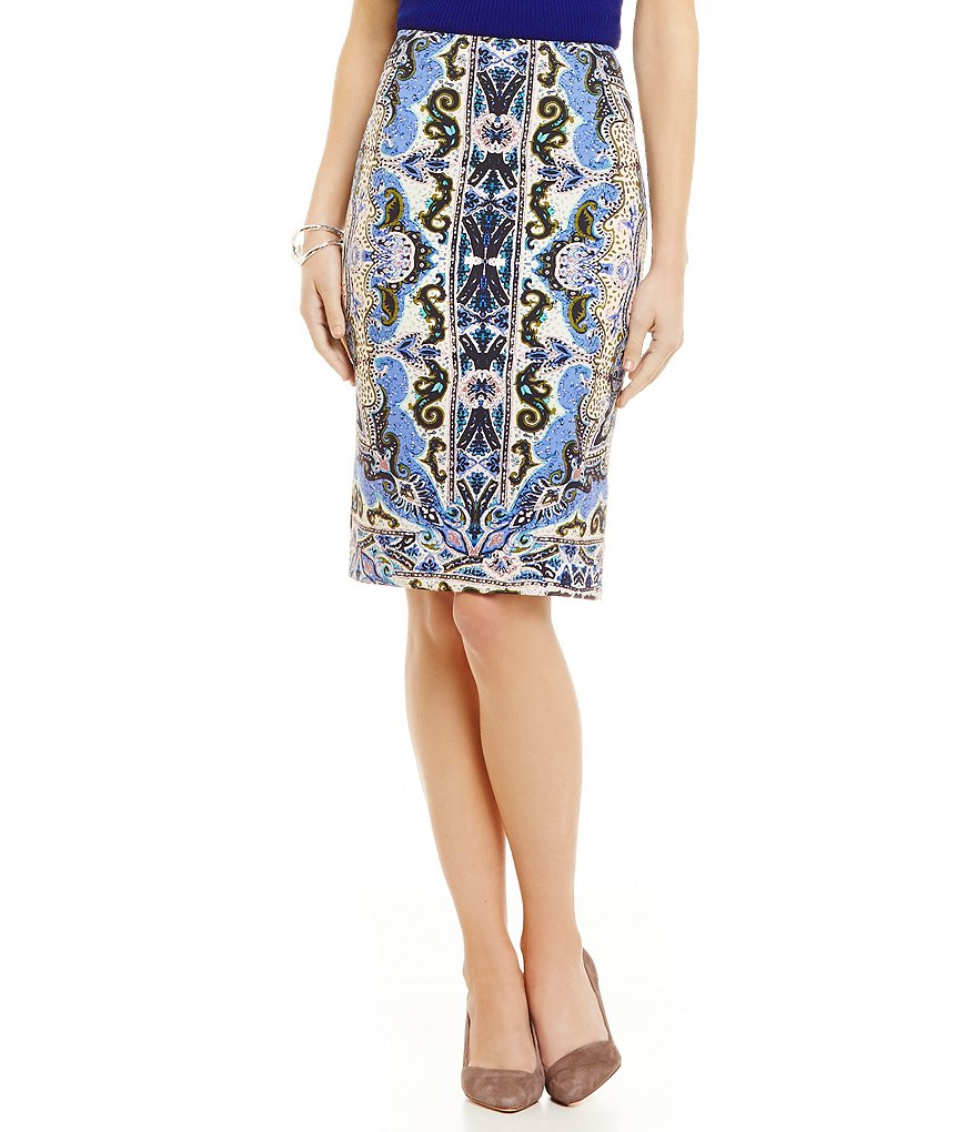 Antonio Melani Benon Printed Crepe Pencil Skirt