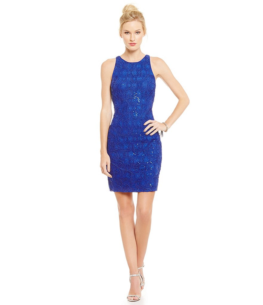 Belle Badgley Mischka Sleeveless Embroidered Sade Dress