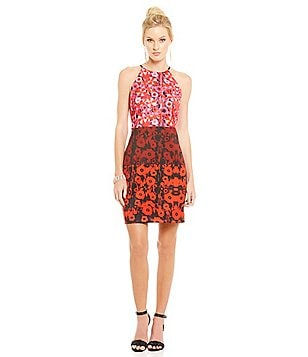 Belle Badgley Mischka Printed Sailor Halter Dress