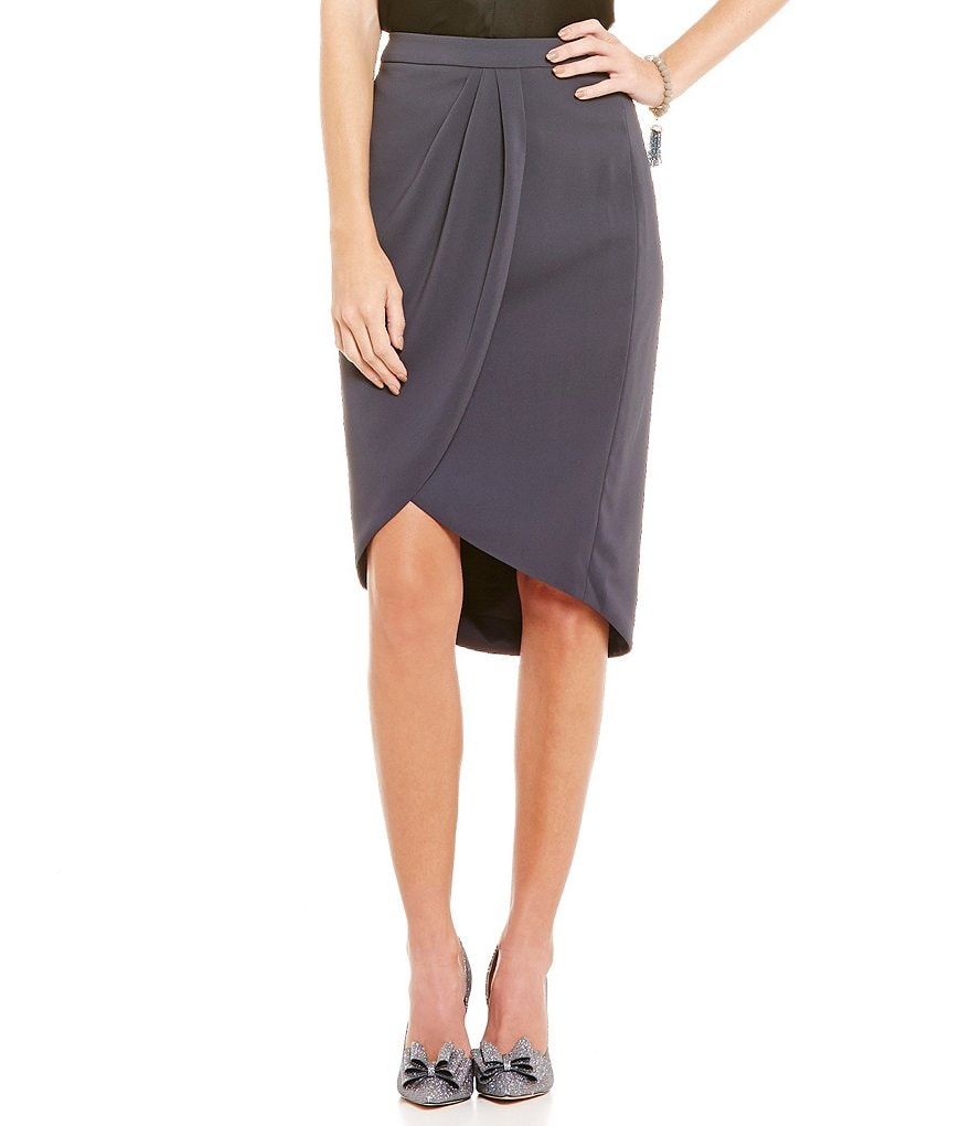 Belle Badgley Mischka Silvia Tulip Hi-Low Skirt