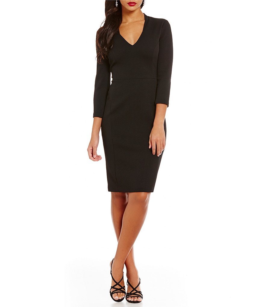 Adrianna Papell Jacquard Knit V-Neck Long Sleeve Sheath Dress