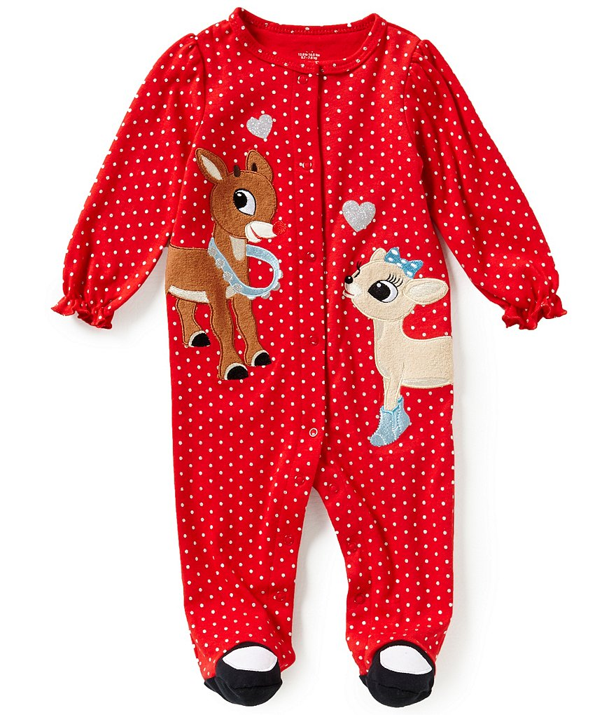 Baby Starters Baby Girls 3-9 Months Christmas Rudolph Footed Coverall