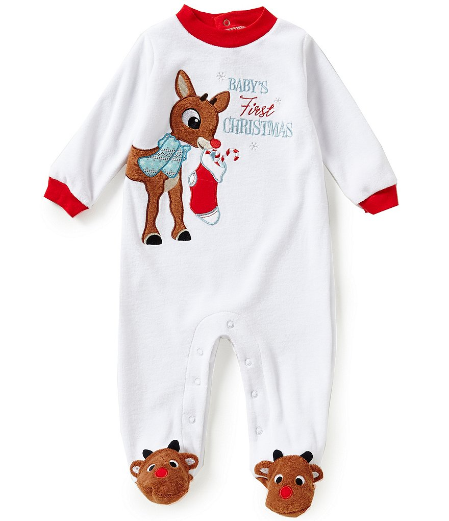 Baby Starters Baby Boys 3-9 Months My First Christmas Rudolph Footed Coverall