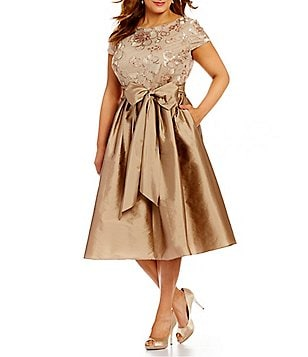 Adrianna Papell Plus Short Sleeve Sequined Lace Taffeta Dress