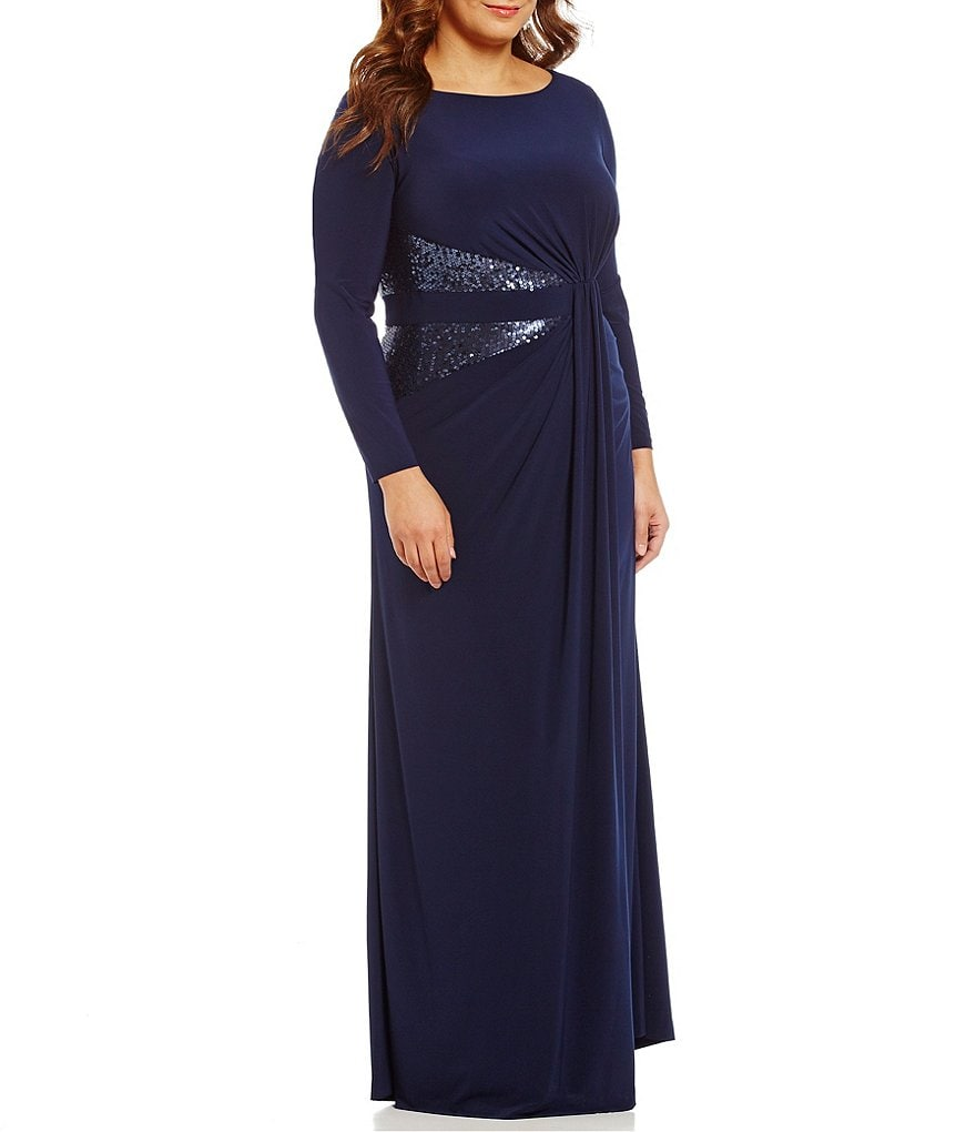 Adrianna Papell Plus Sequin-Panel Jersey Gown